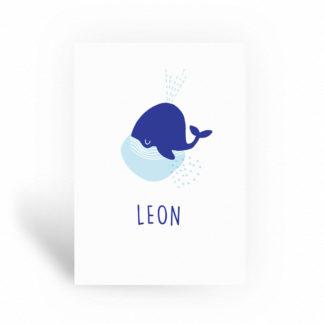 Geboortekaartje walvis zee onder water thema