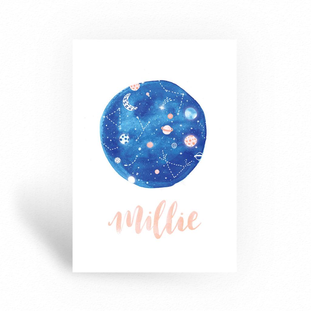 Geboortekaartje heelal thema planeten waterverf universum sterrenhemel