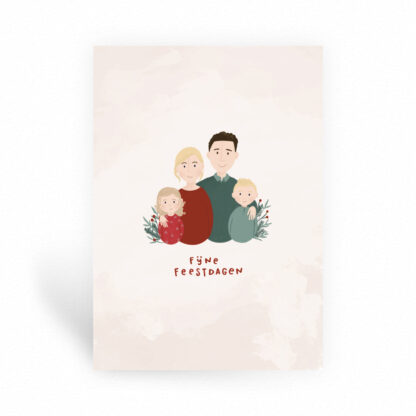 kerst tekening portret gezin kerstkaart